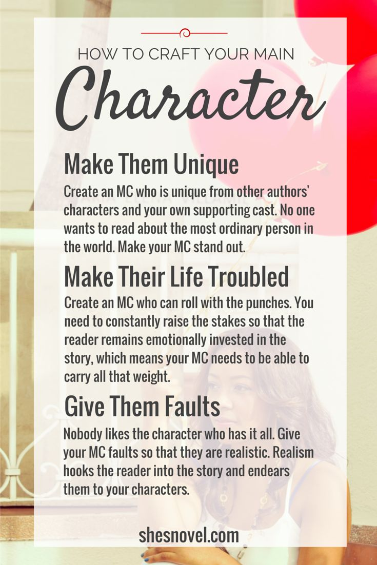 Simple but effective.  How To Craft Your Main Character | How To Write a Story Guide | She's Novel