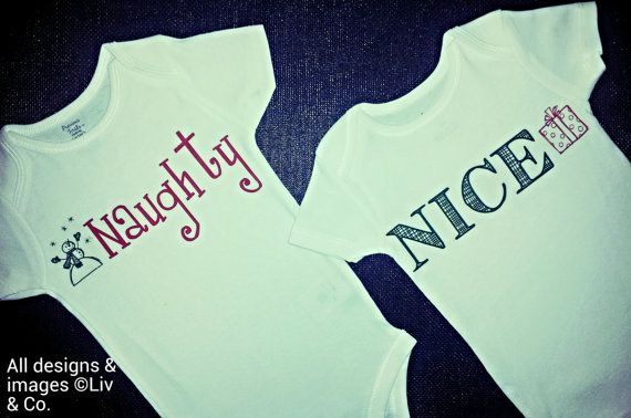 Twin Christmas Outfits, Christmas Twins Shirts, Funny Twin Bodysuit, One Piece, Twin Onsies, Naughty, Nice, Funny Christmas Onsie, Liv & Co....