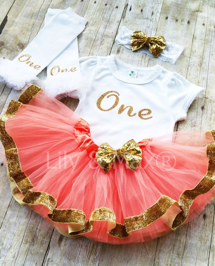Coral and gold ONE Outfit, Sparkly Glitter ONE outfit with coral tutu with gold velvet ribbon trim by LilyandMax on Etsy