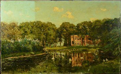 Franz Courtens - Gezicht op Huize Barnaart Landgoed Vogelenzang - tijdens afname oppervlaktevuil - Restauratieatelier Haarlem