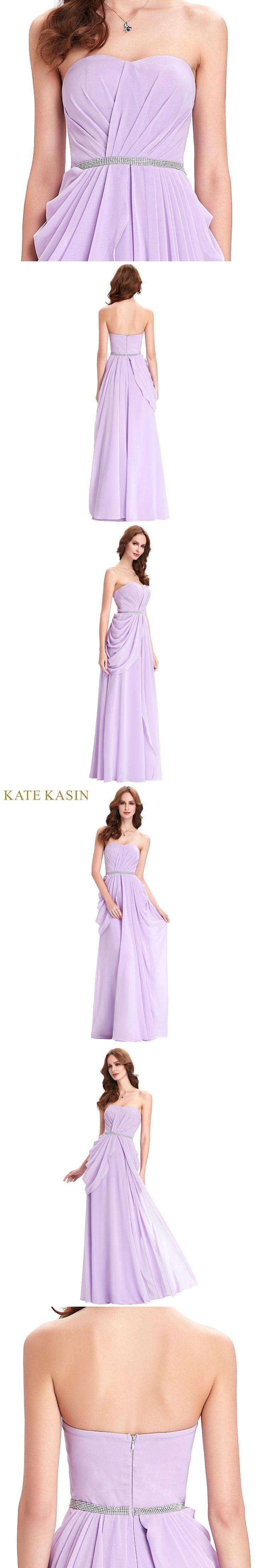 Kate Kasin Long Purple Evening Dresses Strapless Ruched Dress Vestido de Noiva Wedding Long Dresses for Evening Party Gown 0077