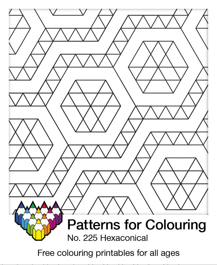 Set your colors loose on this free printable called 'Hexaconical'. Pattern number 225. Click through for the PDF...