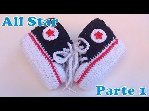 """Passo a Passo All Star de crochê para bebe - """"Crochê da Mimi"""""""