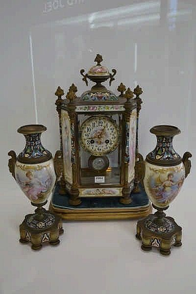 FRENCH LATE 19TH CENTURY THREE PIECE CLOCK AND GARNITURE. CHAMPLEVE AND HANDPAINTED PORCELAIN PANELS