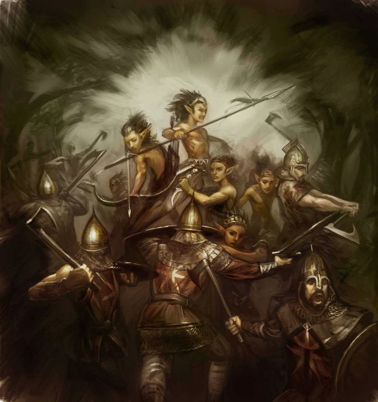 The slaughter of the children of the forest by the Andal warrior, Erreg the Kinslayer