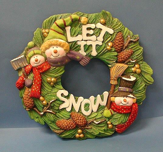 ceramic snowman holiday wreath.