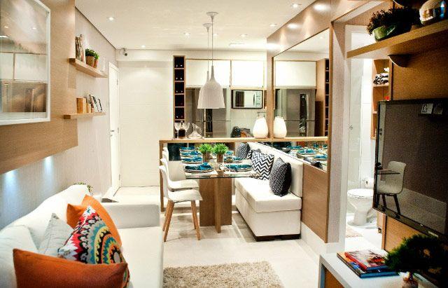 A decoração apartamento 60m2 foi muito bem pensado, as cores, marcenaria, itens de decoração, tudo aproveita cada espaço do ambiente