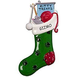 Personalized Treats Stocking Cat Christmas Ornament