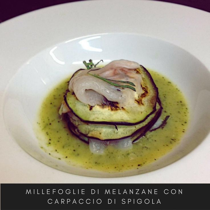 Feuille of eggplant with carpaccio of sea bass. #food