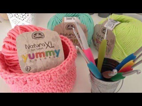Comment réaliser une corbeille au crochet - YouTube                                                                                                                                                                                 Plus