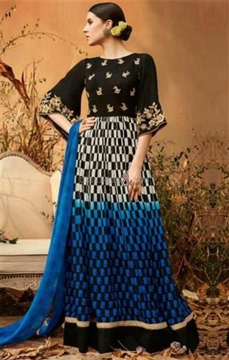 #DesignersAndYou Grab This Gilded Black-Blue #Embroidery And #GinghamPrint #Patterned #Anarkali. This #Maxi Type #DesignerGeorgette #Churidar Type Frock Suit Set Consists #CrewNeck. Trendy Sleeves, Embroidery & Gingham Pattern Print & #BroadBorder Are Adding Class To It #ForGathering.