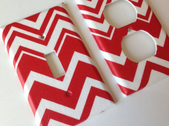 Red and White Chevron Striped light Switch by COUTURELIGHTPLATES, $5.95 red room decor, red bedroom ideas, nautical room decor, nautical bedroom ideas, nautical nursery, Americana #nauticalroomideas, #nautical nursery, teen room decor , #teenroomdecor