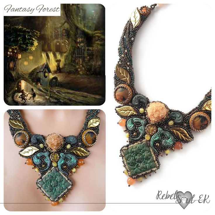 fantasy necklace, elven necklace, nature colors, woodland style, elf collar, forest necklace, seed beads embroidery necklace, green elvish