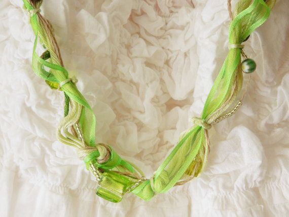 Cute green long necklace with glass beads and cotton and linen yarn -- Green 1