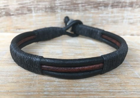 Mens Black and Brown Leather Bracelet, Mens Leather Cuff Bracelet, Unisex Bracelet, Mens Leather Wrap Bracelet, Biker Dude, Genuine Leather by urbanlanding on Etsy