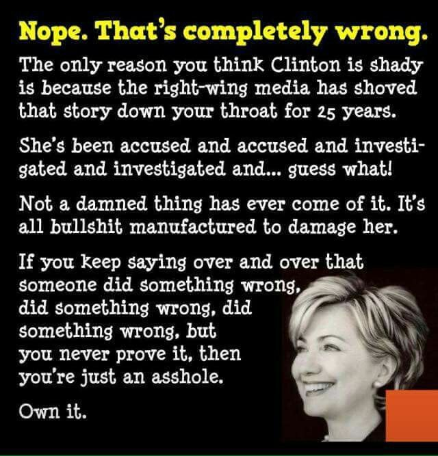 She's been investigated since '92. How many ongoing cases against Trump? Too many.