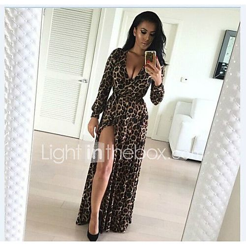 2016 new European and American sexy leopard maxi V-neck long-sleeved dress length skirt split 2017 - $12.99