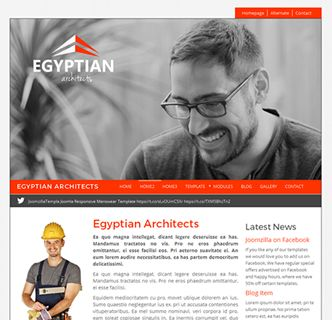 Egyptian Architects Joomla Template, just released. This fantastic and practice Joomla template works and looks great for a variety of business sectors. Checkout its slideshow with fixed logo on top, it's 2 different content widths, its various colours and fonts and more. It's a fast loading and easy to use Joomla template, with a responsive design