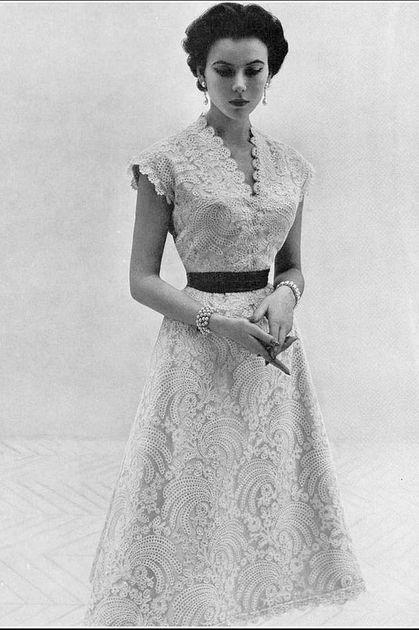 "1953 Sylvie Hirsch in lovely white lace dress by Lanvin-Castillo, photo by Eugene ""Genia"" Rubin"