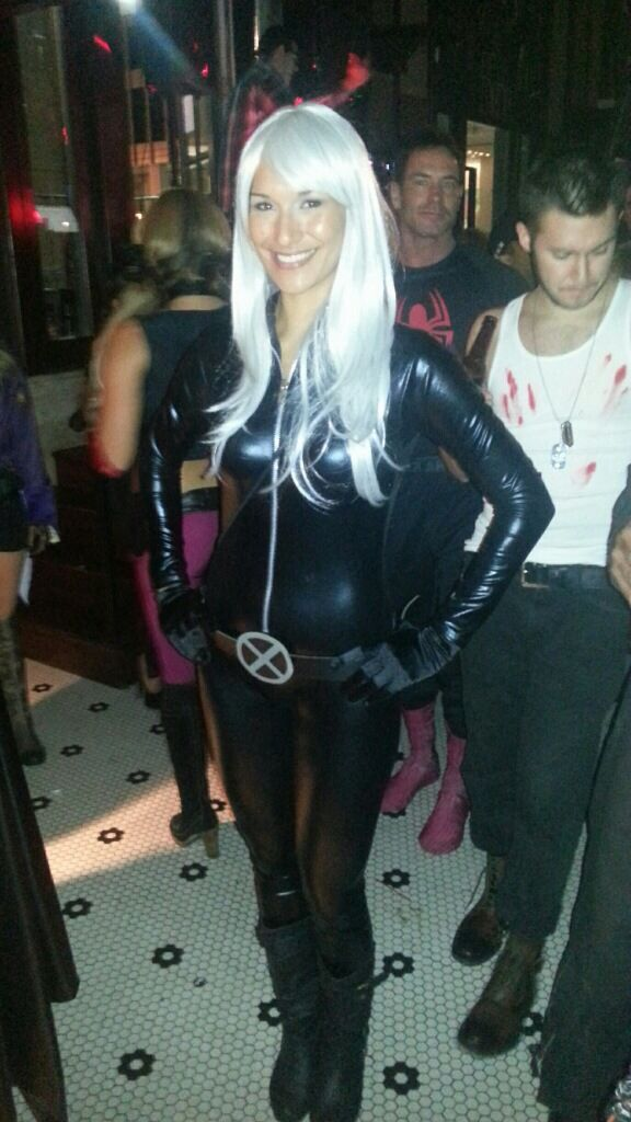 "X-Men Storm Costume DIY. ""Catsuit"" by leg avenue, wig from Amazon. Make belt buckle out of cardboard."