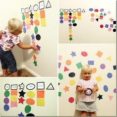 Wall Shapes - my 16 month old has loved all of the homemade activities I have created for him over the past few days. I'll have to add this one!