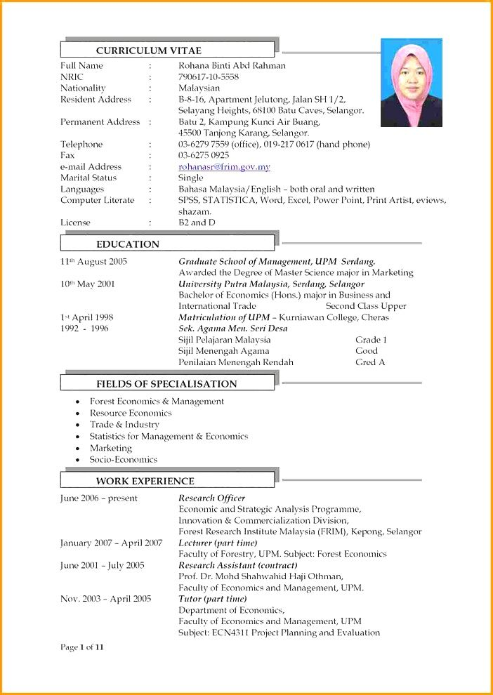 contoh template resume
