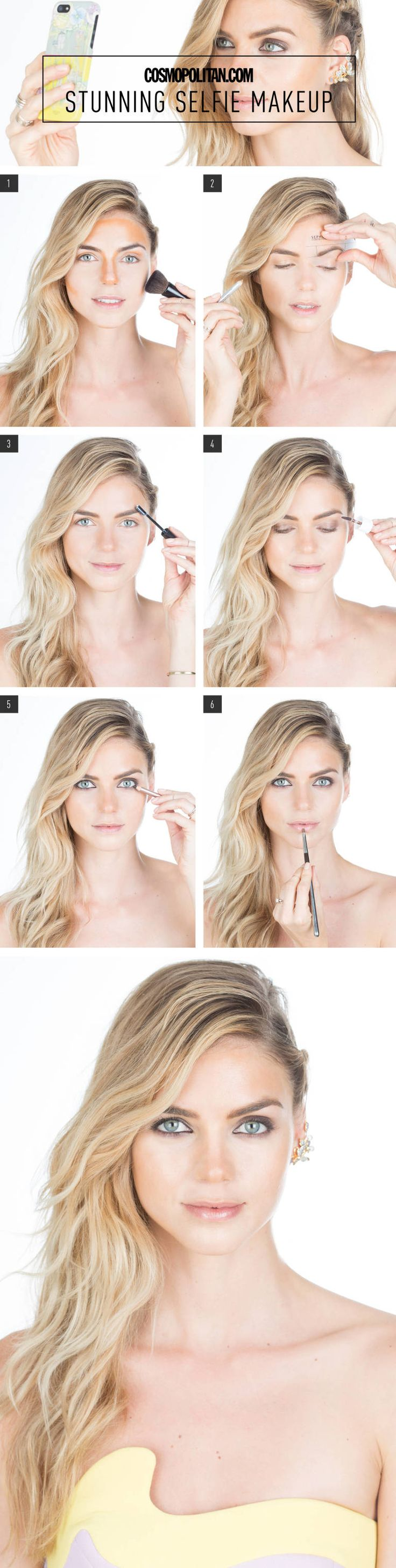 Cosmopolitan.com partnered with NBC's A to Z Guide to Dating to create the ultimate stunning selfie makeup tutorial with the help of makeup artist Lauren Cosenza. Ahead is the how-to. Here's to flawless pics of you!