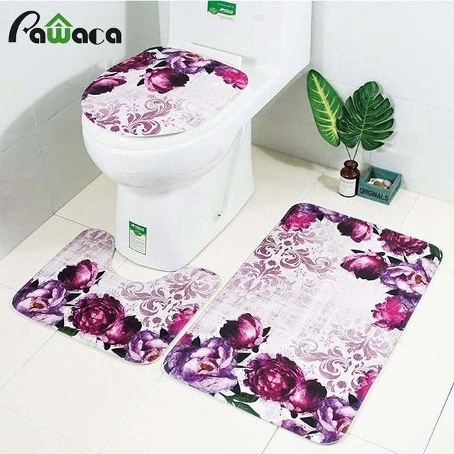 3pcs Bath Mats Anti Slip Bathroom Mat Toilet Mat Set Fleece Floor