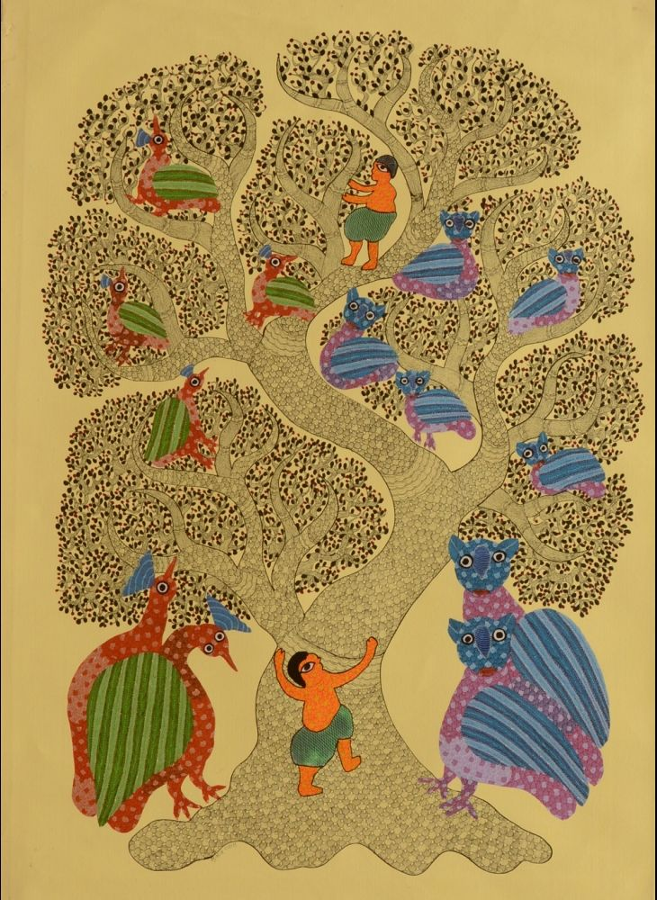 Tree & Birds by Subhash Vyam: indigenous artist of Gond tribe in Central India.