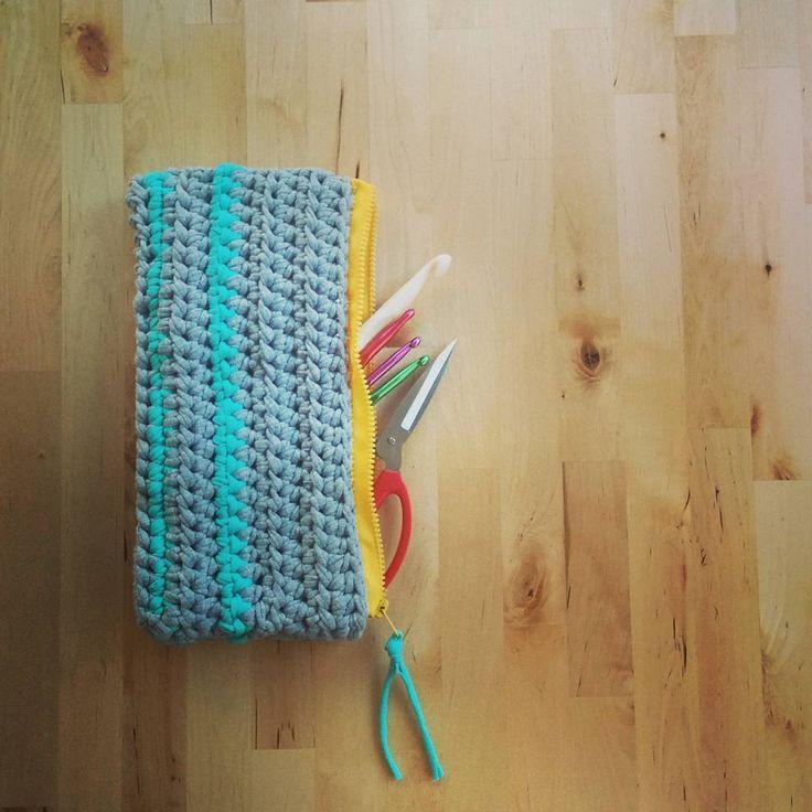 My sky and cloud themed handmade #crochet case with #tshirtyarn  #astitchadaykeepsthedoctoraway #instacrochet