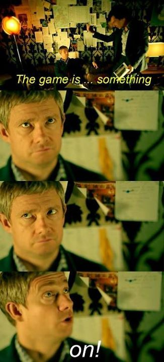 One of the funniest scenes from BBC Sherlock. This one's from The Sign of the Three when Sherlock and John are drunk.:-)