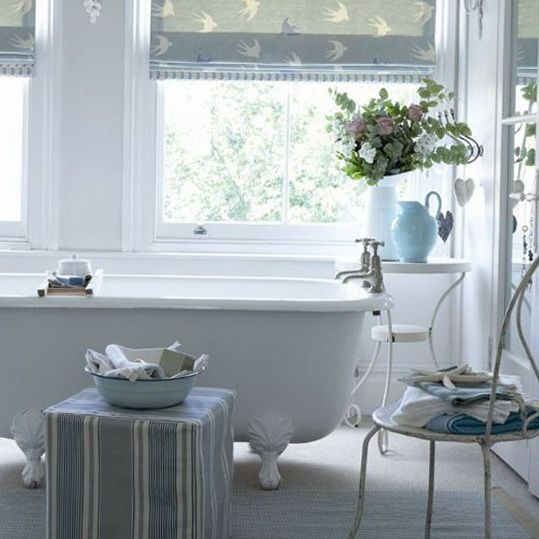 Subtle shades of sky blue duck egg and demin great for Duck egg blue bathroom ideas