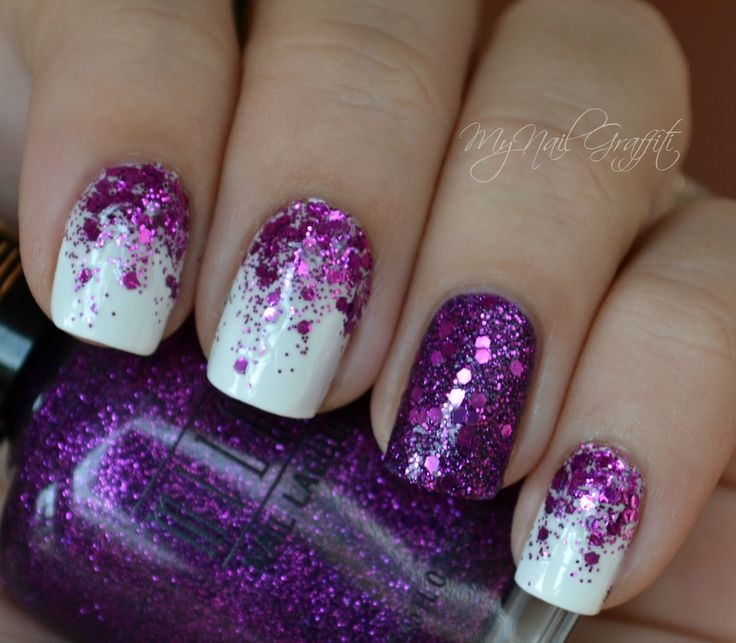 Purple glitter over white nails...one accent nail