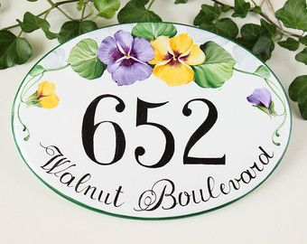 House number plaque / Outdoor house numbers/ by DipintoAdArte
