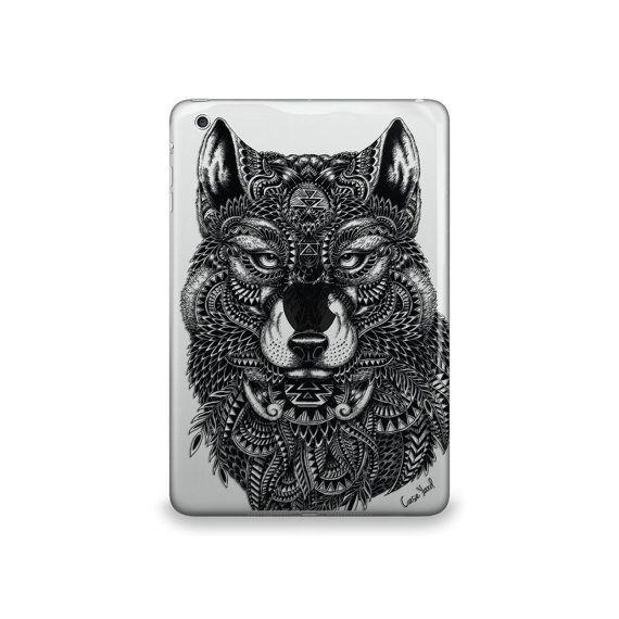 Wolf Clear case,iPad Air case, iPad Mini case, iPad Mini 2 case, iPad 3 case, iPad clear case, custom iPad case, iPad TPU,