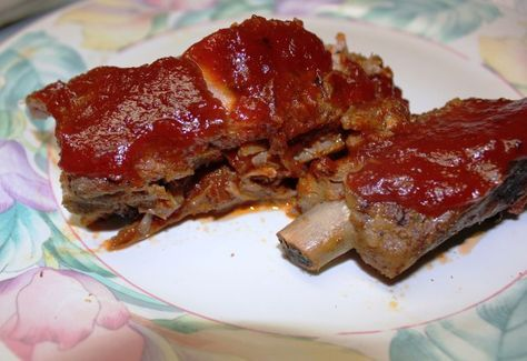 PINNED THERE, DONE THAT...Easy Oven Baked Ribs Recipe - Food.com (Did not use as much BBQ sauce as they called for in the recipe.)