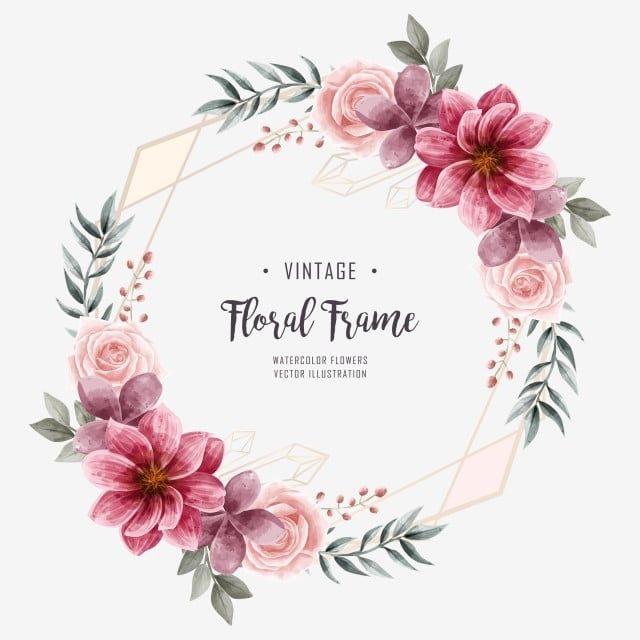 Gambar Bingkai Bunga Cat Air Bunga Jemputan Perkahwinan Bingkai Geometri Clipart Bunga Latar Belakang Corak Png Dan Psd Untuk Muat Turun Percuma Flower Frame Floral Watercolor Wedding Frames