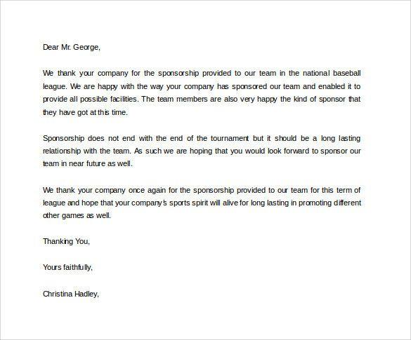 Letter Of Appreciation For Sponsorship New 29 Sample Sponsor Thank You Letters Pdf Word Sponsorship Letter Donation Letter Thank You Letter