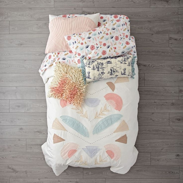 Shop Desert Flora Embroidered Duvet Cover.  This embroidered duvet cover features a desert-inspired design with a splendid array of appliqued plant life and playful hues.