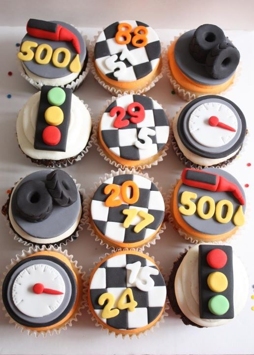racing cupcake toppers for Cars party or racing party - from Lynlee's Petite Cakes
