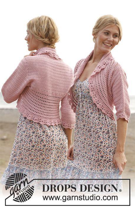 "Saco DROPS, en ganchillo / crochet, en ""Cotton Light"" y ""Glitter"". Talla: S – XXXL. ~ DROPS Design"