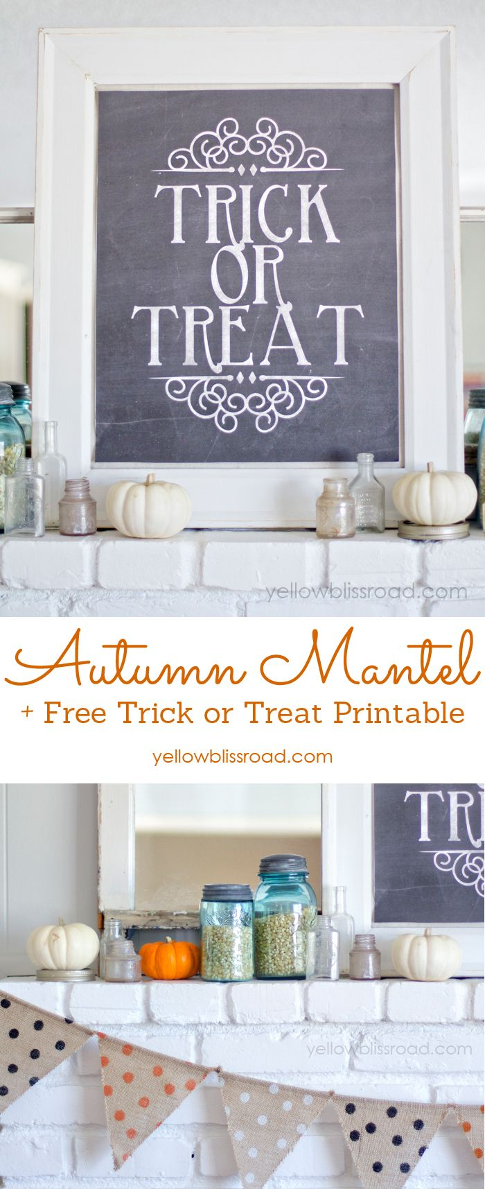 Autumn Mantel plus a Free Trick or Treat Printable