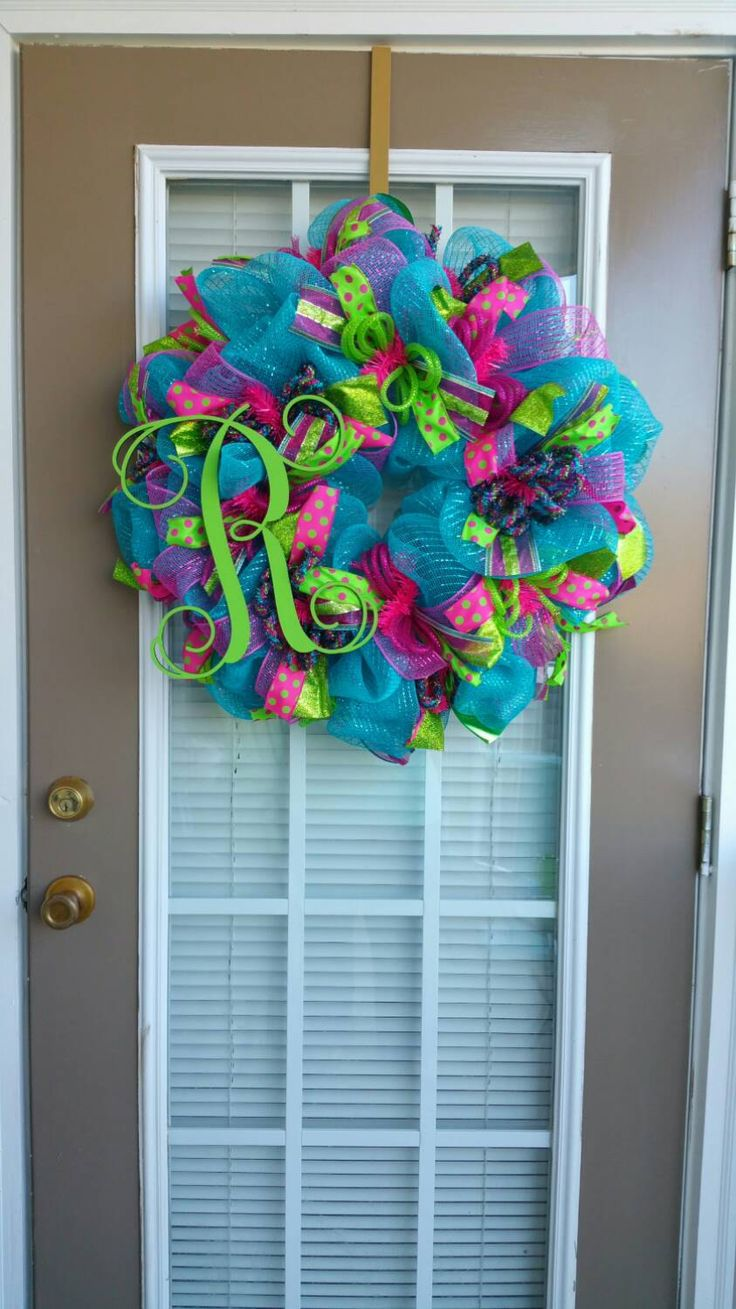 Spring Summer Everyday Turquoise Pink and Lime Green Easter Deco Mesh Monogram Wreath / Initial Deco Mesh Wreath by SecondNatureWreaths on Etsy https://www.etsy.com/listing/218207844/spring-summer-everyday-turquoise-pink