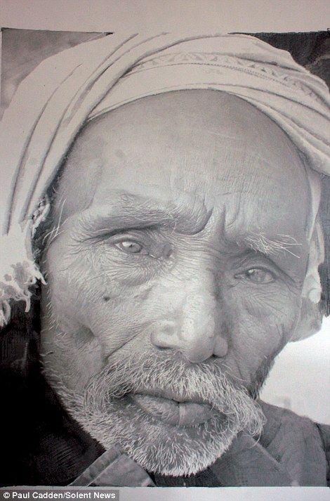 Not all black and white: From a distance Paul Cadden's work looks like a picture. However, a gallery exhibiting his work said seeing the originals up close reveals the extent of the drawing detail