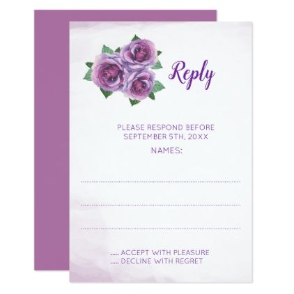 Purple Rose Bouquet Wedding Reply Cards - wedding invitations diy cyo special idea personalize card