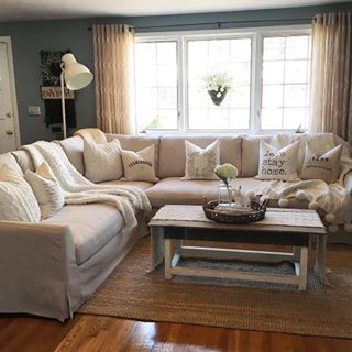 "The lighting was horrible before I left for work, but I wanted to share the new couch anyway because I'm kind of obsessed...this is the ""Farlov"" sectional in beige from @ikeausa we were originally going to get the popular ektorp sectional but it was just too small for us. We wanted something that we could all lay on together & relax. This one is pretty big & the cushions are super deep. Like the ektorp, all cushions are slip covered & washable plus the material seems way more durable than…"