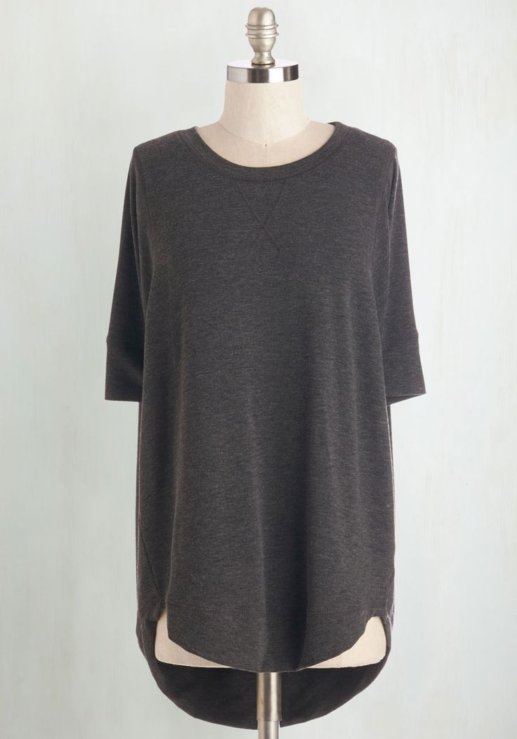 Best of Basics Top in Charcoal - Knit, Mid-length, Grey, Solid, Casual, Short Sleeves, Better, Grey, Short Sleeve, Basic, Crew, Top Rated