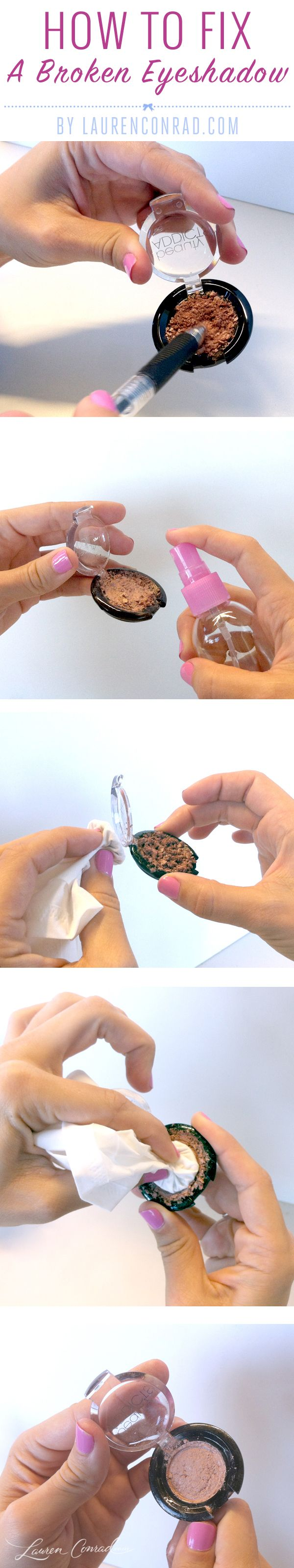 If you've ever cracked your favorite eyeshadow, instead of going out and replacing it, try this trusty trick instead…