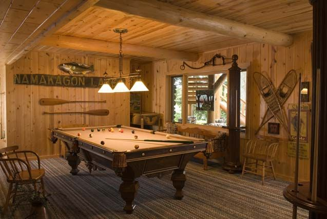 1000 images about pool table room ideas on pinterest for Log cabin basement ideas