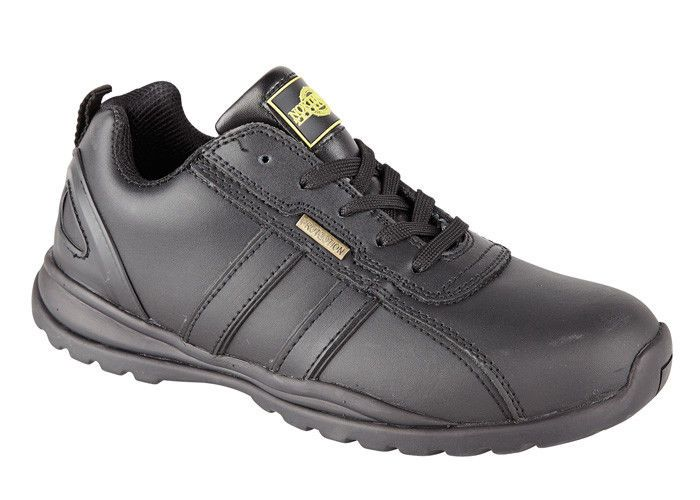Mens Boys New Black Leather Holman Steel Toe Cap Safety Work Trainers Shoes 7-10